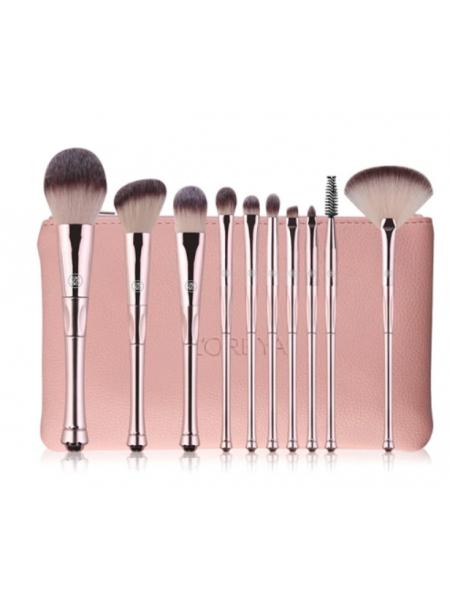 Набор профессиональных кистей для макияжа  розовый 10 шт.