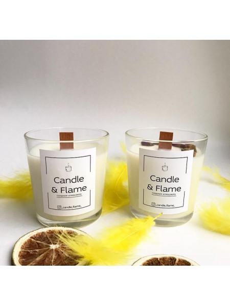 Соевая свеча с деревянным фитилем 170 гр.